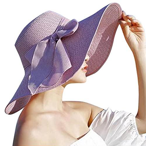UKKD Sombrero para el Sol Señoras Bowknot Grande Brim Star STOR Sorte Fullas Abajo Ahante Sala De Soluciente Pequeña Plata Plativa Playa Capos De Verano