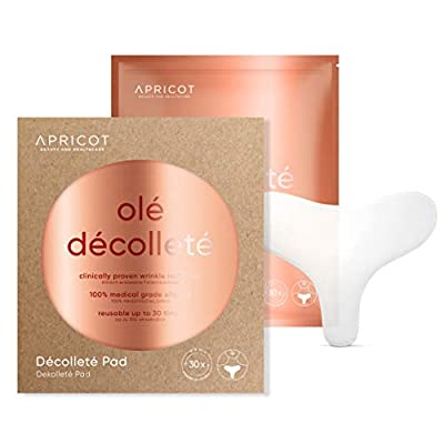 Apricot Décolleté Pad - Usable 30x - Original from Germany - Anti-Aging Beauty Pad Made from Medical Silicone - clinically Proven Efficacy! German Innovation Award Winner