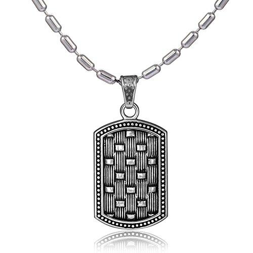 DonDon Collar de Acero Inoxidable 55 cm y Colgante Chapa de Perro de Acero Inoxidable para Hombres...