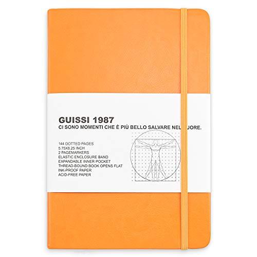 Guissi Cuaderno clásico de puntos, con tapa dura A5, 100 g/m², papel grueso sin ácidos, con bolsillo interior fino, material escolar, de piel sintética, 144 páginas, diseñado en Florencia