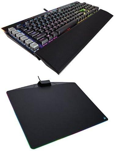 Corsair Gaming K95 RGB PLATINUM Mechanical Keyboard, Cherry MX Speed, Black (CH-9127014-NA) and Corsair Gaming MM800 RGB Polaris Mouse Pad