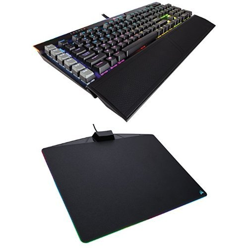 Corsair Gaming K95 RGB PLATINUM Mechanical Keyboard, Cherry MX Brown, Black (CH-9127012-NA) and Corsair Gaming MM800 RGB Polaris Mouse Pad