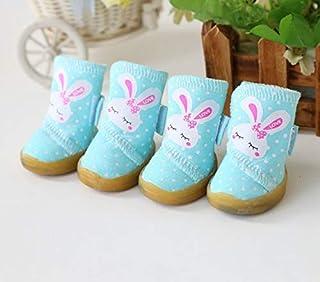 CRZD Pet Shoes Dot Rabbit Dog Boots Shoes Teddy Dog Shoes Puppy Pet Shoes Clothing For Dogs Clothes (Color : Blue, Size : M)
