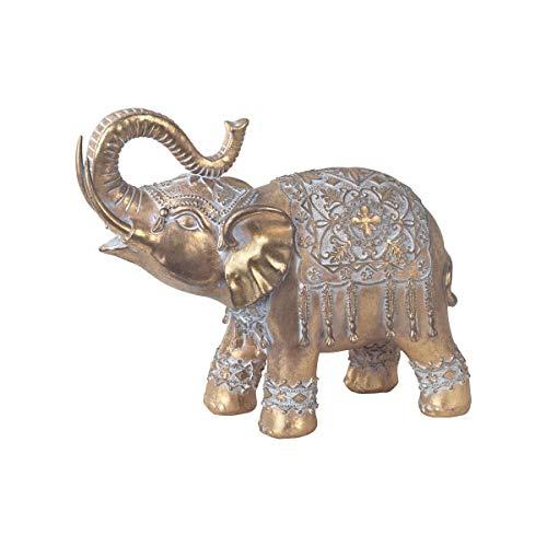 CAPRILO. Figura Decorativa de Resina Étnica Elefante Dorado Grande. Adornos y Esculturas. Animales. Decoración Hogar. Regalos Originales. 24 x 9 x 22 cm.