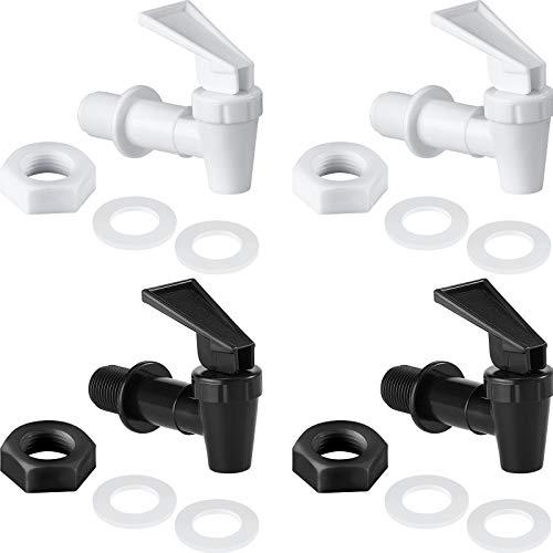 4 Sets BPA-Free Replacement Cooler Faucet Water Bottle Jug, Dispenser Tap Set, Reusable Spigot Spout Water Beverage Lever Pour Dispenser Valve Water Crock Tap (Black, White)