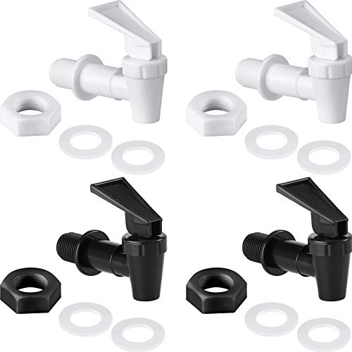 4 Sets BPA-Free Replacement Cooler Faucet Water Bottle Jug, 2 Black and 2 White Water Dispenser Tap...