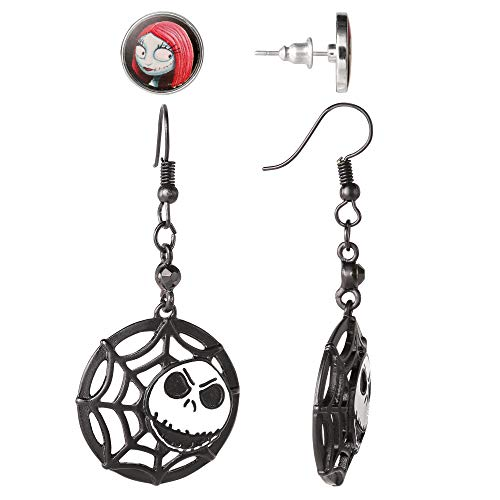 Disney Nightmare Before Christmas Jack and Sally Earrings Fashion Jewelry Set, Official License