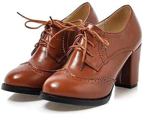 Botines De Tacón Alto para Mujer Zapatos De Cuero Oxford con Punta Puntiaguda con Estilo Vestido De Trabajo De Oficina Cómodo Bombas para Damas