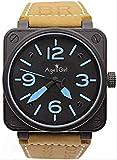 DMZZYGJR Luxury Herren Edelstahl Braun Leder Carbon Glocke Uhr Automatische Mechanicl Selbstwind Silber Taucheruhren 6