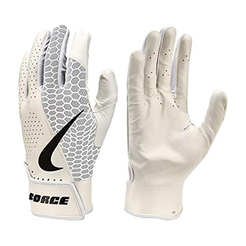 Nike Force Edge Leder Baseball Handschuhe, Batting Gloves - weiß Gr. M