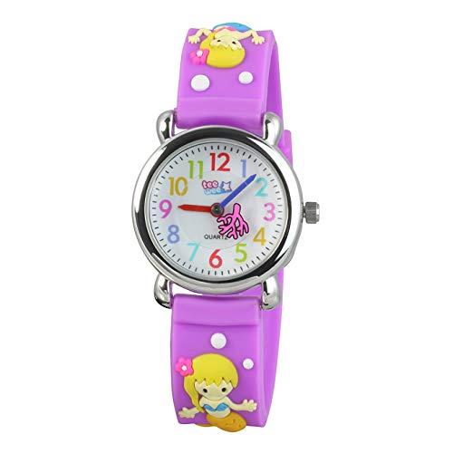 Tee-Wee Uhr für Kinder Meerjungfrau Kautschuk Armband lila Analoguhr D3UW647V