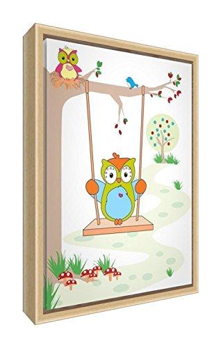 Feel Good Art eco-bedrukt & ingelijst kinderkamer canvas met natuur massief houten frame 〗 Wally de uil op een schommel met Boo The Baby Uil van de baby ▸, meerkleurig, 34 x 24 x 3 cm (klein)