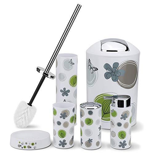 Ohok, set di accessori da bagno, 6 pezzi, con bidone della spazzatura, bicchiere, portaspazzolino, portasapone, dispenser di sapone, scopino WC con supporto (cerchio verde, 6)