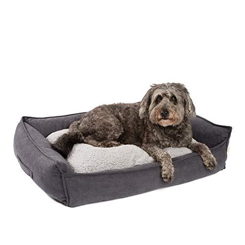 JAMAXX Premium Hundebett Orthopädisch Memory Visco Schaum Waschbar Wendekissen Wasserabweisend/Hundekörbchen Weicher Samtartiger Sofa Stoff Hundekissen Hundekorb PDB2002 (90x70 (M), grau