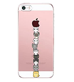 Yimer iPhone SE Case iPhone 5s Ultra Thin Soft Rubber TPU Animals Cats Girls Protective Cover G