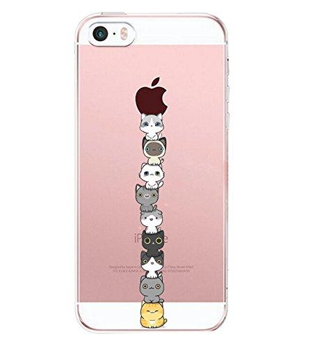 iPhone SE Case, iPhone 5, iPhone 5S Case, Alsoar Sottile e Leggera Silicone Trasparente Anti Scivolo Graffi Morbido TPU Cute Design Cover per Apple iPhone 5s / 5 / SE (Gatto)