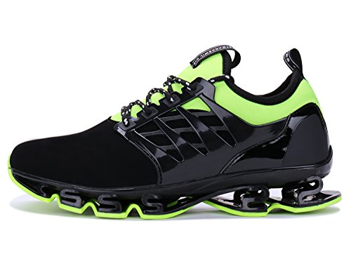 Mens Casual Walking Sneakers Slip On Blade Outdoor Sport Shoes (10.5 M US, 4black Green)