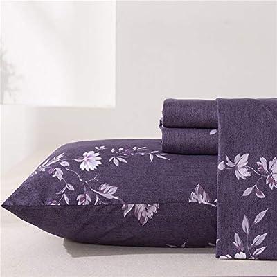 MEISHANG Sheet Set King Floral Sheets Printed Sheets Ultra Soft 100% Microfiber-Deep Pocket Fitted Sheet+Flat Sheet+Pillowcases-4 Pieces Purple Flower King