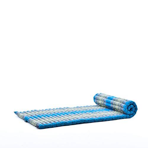 Leewadee Roll-Up Thai Mattress, 200x76x5 cm, Guest Bed Yoga Floor Mat Thai Massage Pad Eco-Friendly Organic and Natural, Kapok, light blue