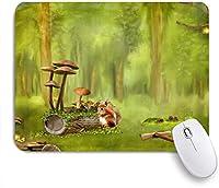 VAMIX マウスパッド 個性的 おしゃれ 柔軟 かわいい ゴム製裏面 ゲーミングマウスパッド PC ノートパソコン オフィス用 デスクマット 滑り止め 耐久性が良い おもしろいパターン (ファンタジーの森のキノコの切り株のウサギ)