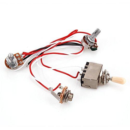 FOY Cableado para guitarra, interruptor de palanca de 3 vías 1V1T 500 K, guitarra eléctrica 2 Humbucker, color plateado