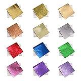 KINNO 12 Colors Imitation Gold Foil Sheets Multi-Color...