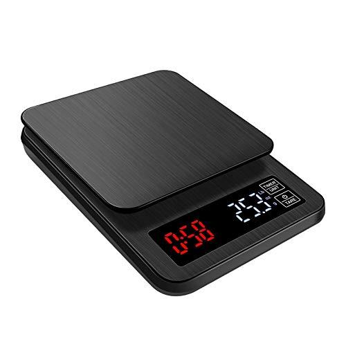 LJP Digitale keukenweegschaal, koffiematras, 10 kg/1 g, met timer, LED, retro, verlicht, temperatuurweergave, multifunctioneel 5kg/0.1g