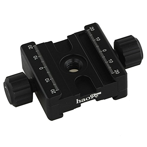 Haoge CP-50BII 50mm Subtend Double Dual Quick Release Clamp for Arca Swiss RRS Benro Dovetail Rail Quick Release Plate Nodal Slide