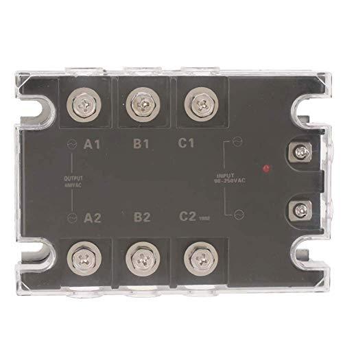 Viewsys Relé de estado sólido, TSR-25AA-H trifásico relé de estado sólido SSR de CA a CA 25A 90-250VAC a 24-480VAC, larga vida útil y alta fiabilidad