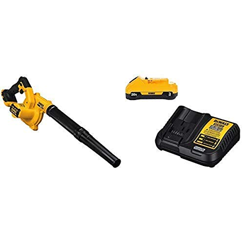 DEWALT 20V MAX Blower for Jobsite, Compact with Battery Pack & Charger, 3-Ah (DCE100B & DCB230C)