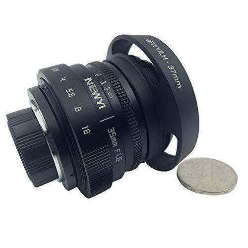 HoSayLike Micro Lente úNica Lente De PelíCula con Puerto C Canon Newyi 35Mm F / 1.6 Circuito Cerrado De TelevisióN Mini para Canon EOS Mount Mirro Camera Y Hood Adapter