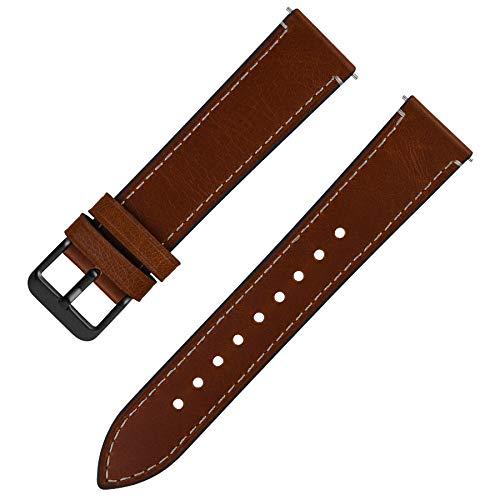 Fullmosa Uhrenarmband 22mm Leder mit Schnellverschluss, Wax Oil Serie in 22mm,Dunkelbraun+Rauchgraue Schnalle