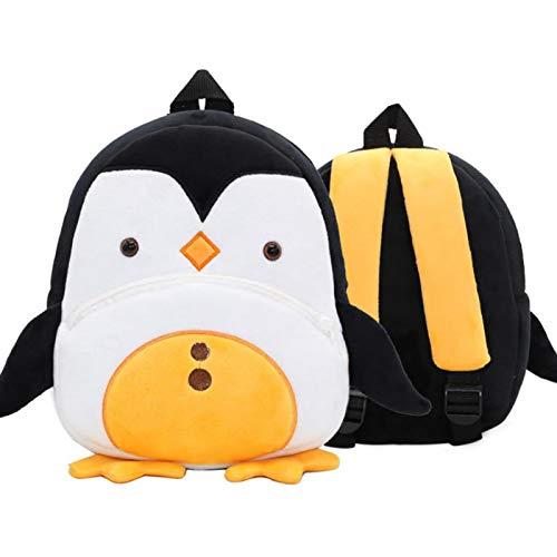 BAIGIO Mochila Infantil Kindergarten,Pequeñas Mochilas Bolsas Escolares de Dibujos Animados Animales para Niñas Primaria 3D Suave Mochila de Felpa Bebe Guarderia Preescolar para 2-4 Años (Pingüino)