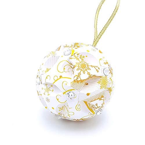 Origami Christmas Sphere impreziosita con cristalli Swarovski® - idea regalo - palla di Natale originale - decorazioni per l'albero - Fatto a mano di carta - Colore Bianco Oro (Diametro 8 cm.)