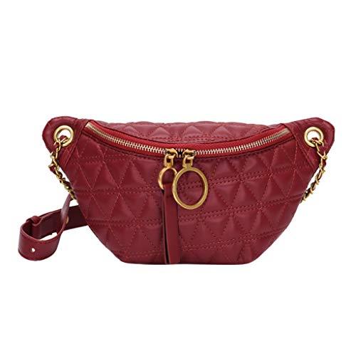 MaNMaNing Waistbag für Damen Leder Wintermode Kuriertasche Retro Elegante Kettentasche Umhängetasche (Rot)