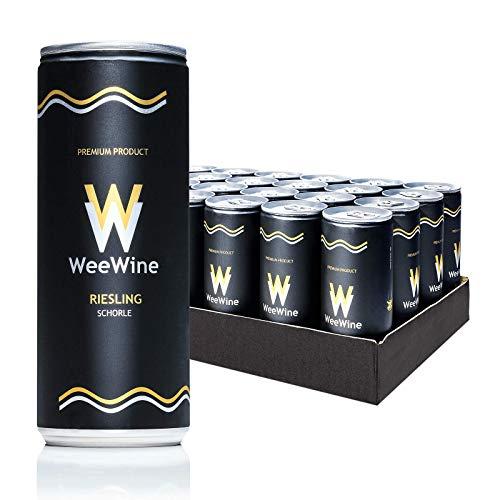 WeeWine Weinschorle – RIESLING | Weißweinschorle aus pfälzer Qualitätswein | feinherb | 24er Palette (24 x 0,25 L)