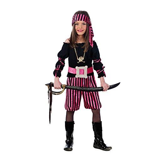 Disfraz de pirata para niña, rosa y negro (talla 5)