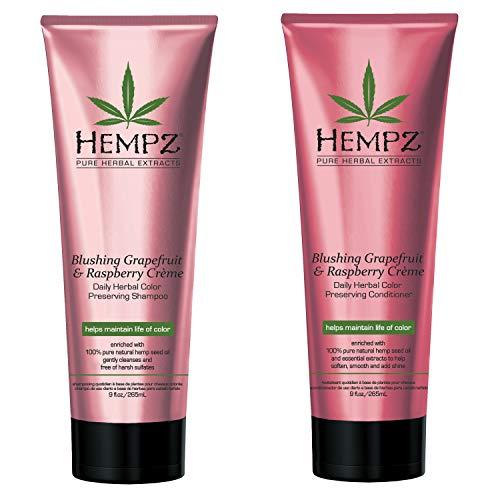 Hempz Blushing Grapefruit & Raspberry Creme Color Preserving Herbal Shampoo & Conditioner Set, 9 Fl Oz - Pure Hemp Seed Oil, Shea Butter & Ginseng