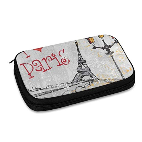Electronics Organizer Intage France Street I Love Paris Eiffel Tower Jelly Comb Electronic Accessories Cable Organizer Bag Travel Cable Storage Bag for Cables, Laptop Charger, Tablet (Up to 9.4'')