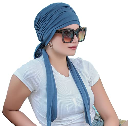 The Headscarves Women's Viscose Prana Chemo Cancer Patients Pregnancy Cap Scarf (HS131, Metallic Grey, Free Size)