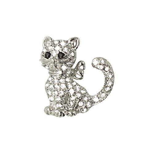 Yvette claro Swarovski Crystal plata tono gato Pin broche