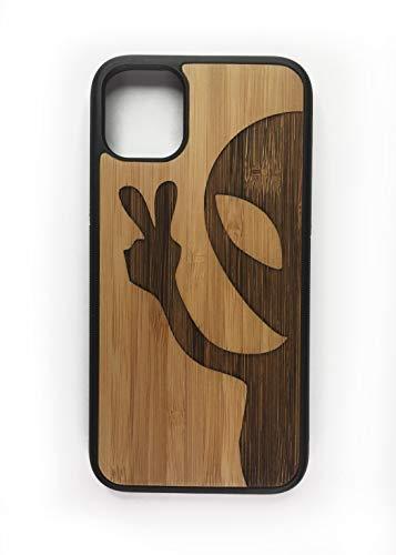 iMakeTheCase Schutzhülle für iPhone 11 Pro 5,8 Zoll (13,7 cm), umweltfreundliches Bambusholz, mit TPU-Rand, UFO-Motiv