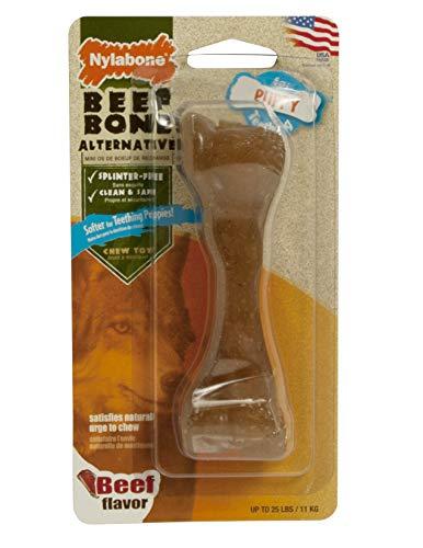 Nylabone Jouet à mâcher pour chiots qui font leurs dents, alternative os de bœuf, arôme bœuf, pour les petits chiens/chiots (jusqu'à 11kg), mâchouilleurs paisibles/qui font leurs dents.
