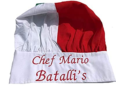 Personalized Chef Hat ITALIAN Adjustable all sizes Custom Embroidery