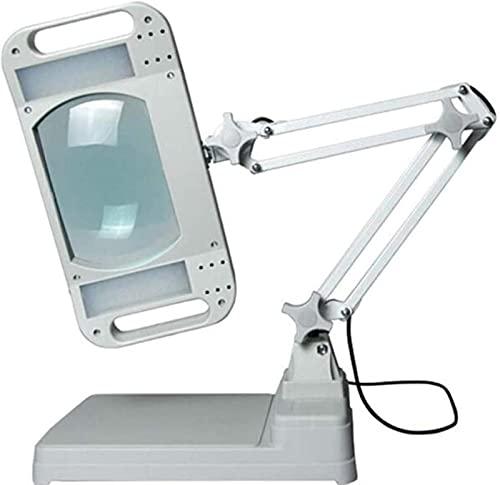 dh-2 Lupa Lupa 5X 10X Soporte Grande - Lámpara De Trabajo Soporte De Montaje De Luz Lámpara Manos Libres Diseño Plegable con 28 Led De Ahorro De Energía