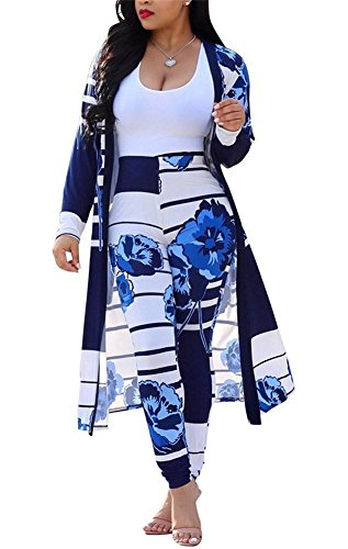 Women's 2 Piece Outfits Stripes Floral Print Open Front Cardigan and Legging Pants Set Blue