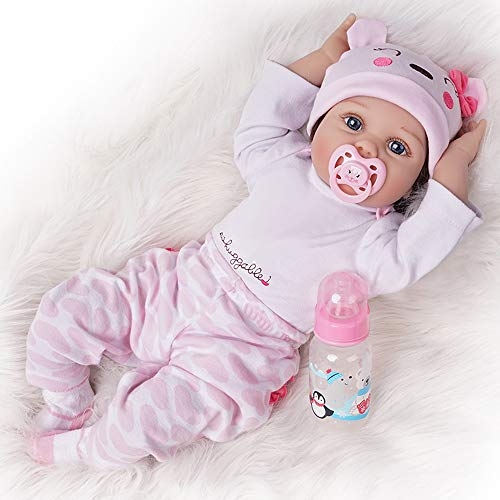 Real Life Reborn Baby Doll Girl Silicone Open Blue Eyes Newborn 22 inch Pink Cute Bear Outfit