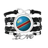 コンゴ川国旗サッカーワールドカップ 愛のアクセサリーツイストレザーニットロープリストバンド編み