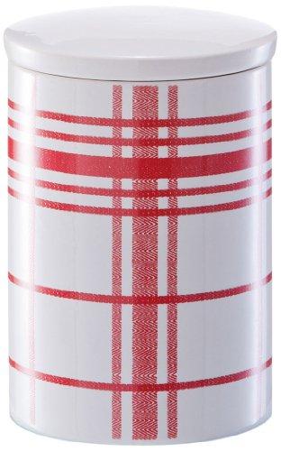Zeller 19601 Vorratsdose Karo, 2200 ml, Keramik, ø 13 x 19.5 cm, rot