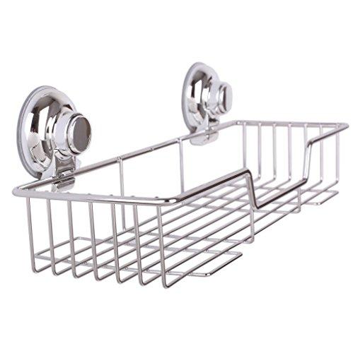 Homeself da bagno, cucina, in acciaio INOX doccia rettangolare a ventosa, Super forte ventosa barattoli da doccia, scaffali da parete